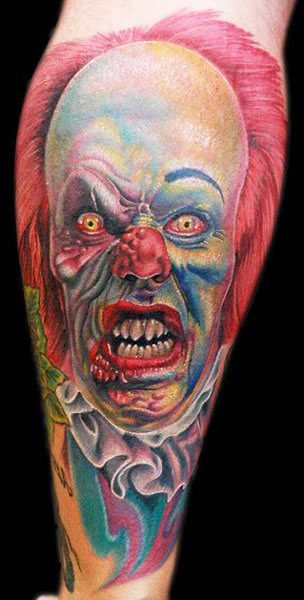 Angry Zombie Evil Clown tattoo