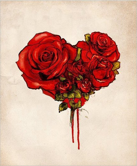 Bloody Flowed Heart rose drawing tattoo