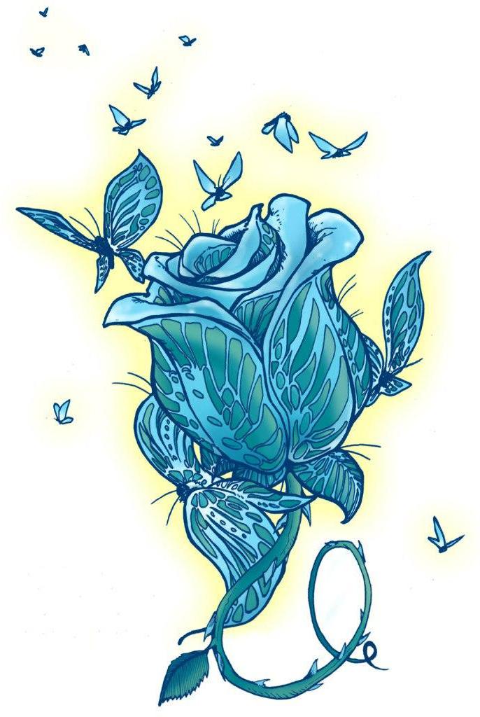 Blue butterflies rose drawing tattoo