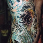 Body side Black Carp japanese tattoo