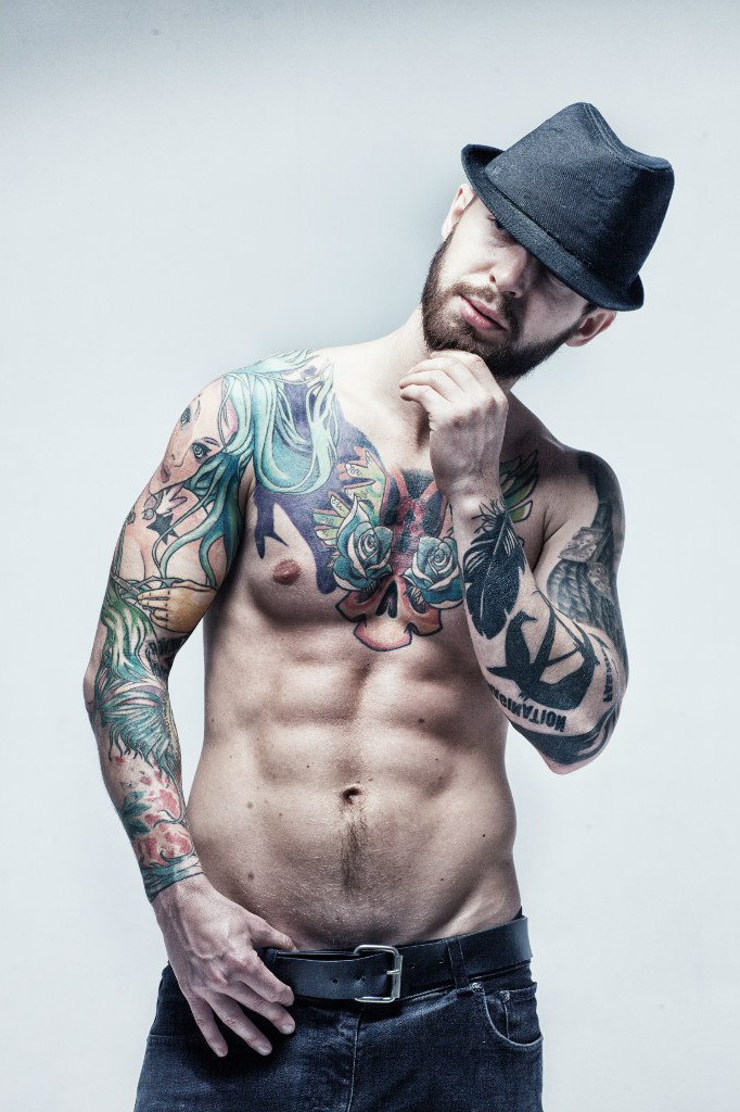 Chest and Hands different themes and styles tattoes