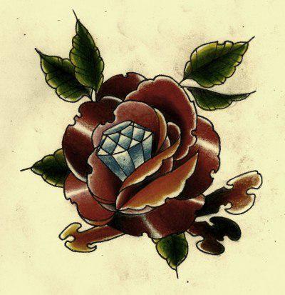 Dimond rose drawing tattoo