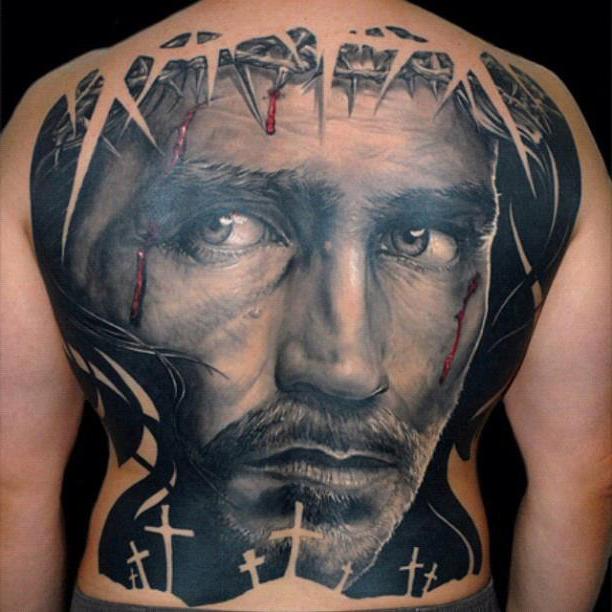 Full Back Jesus realistic tattoo