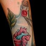 I Send You My Heart traditional tattoo