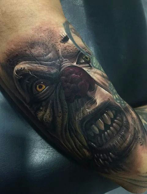 Orcish Look Evil Clown tattoo