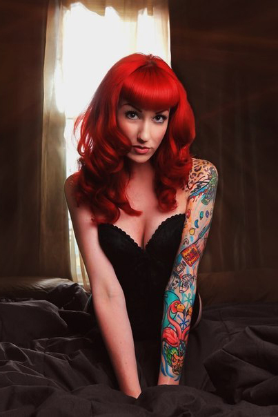 Red-Haired Pin Up Girl tattoo design