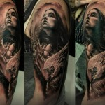 A Girl and Child Graphic tattoo by Led Coult