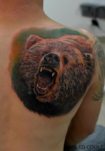 Angry Bear on Shoulder tattoo by Led Coult