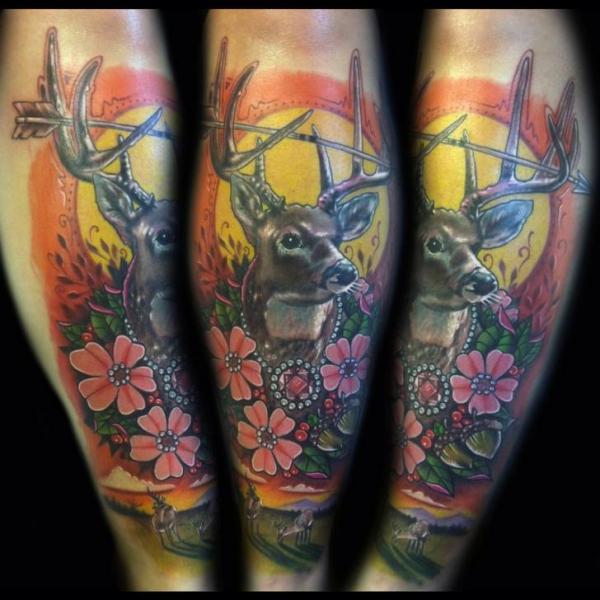 Arrow Horns Stag tattoo by Johnny Smith Art