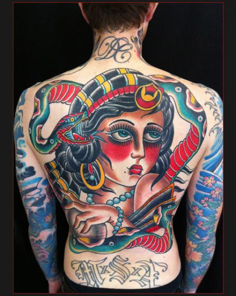Back Old School Girl Face tattoo by Chapel tattoo