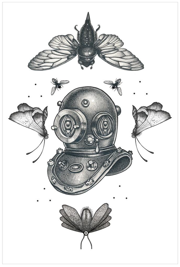 Biig Eyes Aqualung tattoo idea