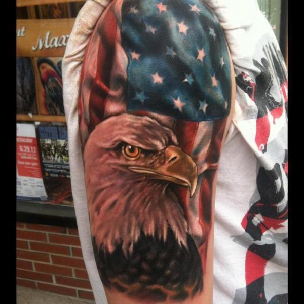 Bold Eagle and American Flag tattoo