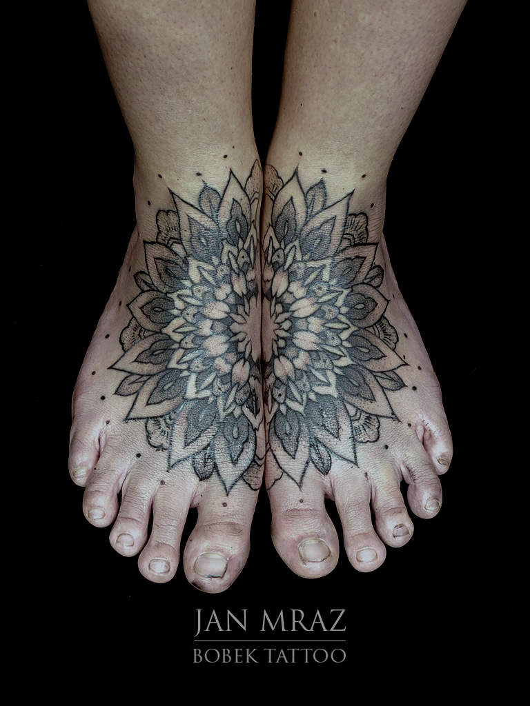 Both Feet Mandala tattoo by Jan Mràz
