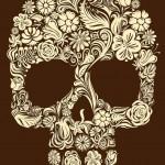 Brown Flower Skull tattoo sketch