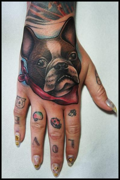 Bulldog Back of Hand tattoo