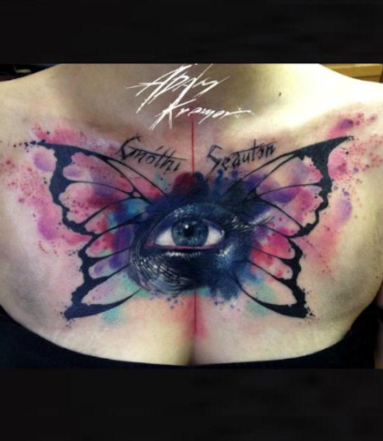 Butterfly Wings Eye Aquarelle tattoo by Adam Kremer