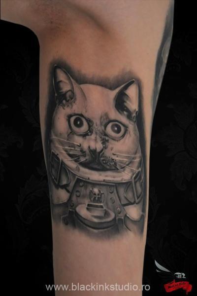 Cat Marine Graphic tattoo by Black Ink Studio