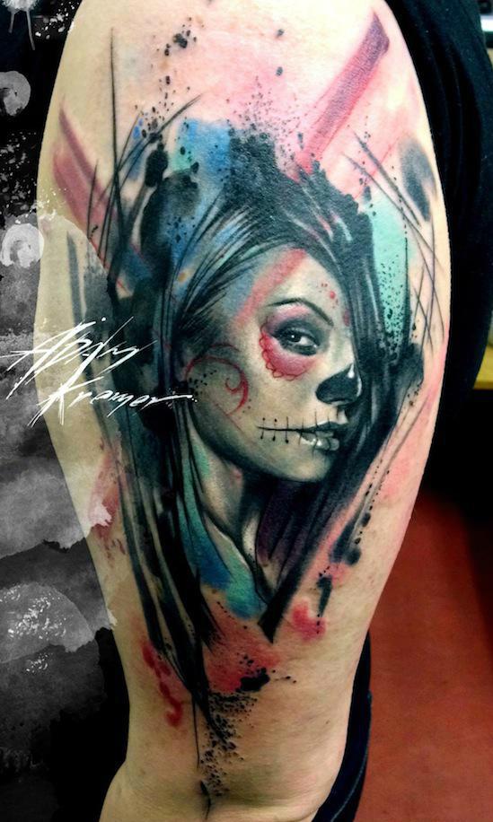 Chicano Trash Polka Face Aquarelle tattoo