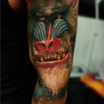 Close-Up Baboon Monkey tattoo by Led Coult