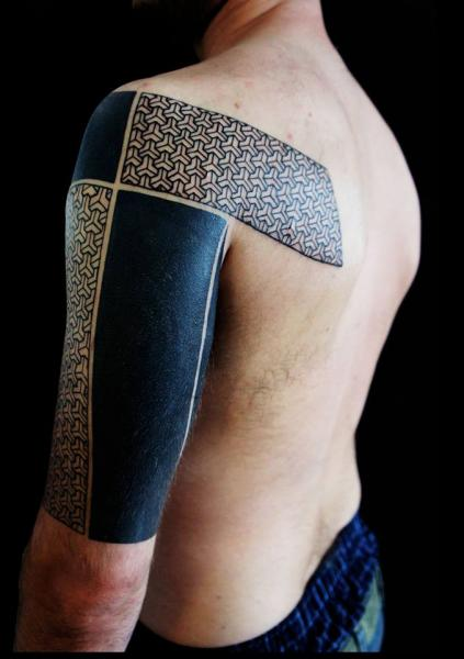 Devided Hand Blackwork tattoo by White Rabbit Tattoo