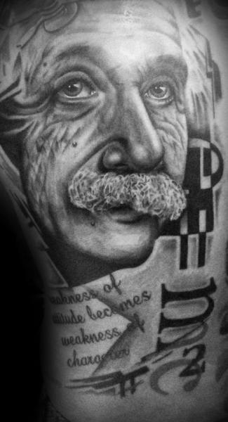 Einstein Trash Polka Lettering tattoo by Westfall Tattoo