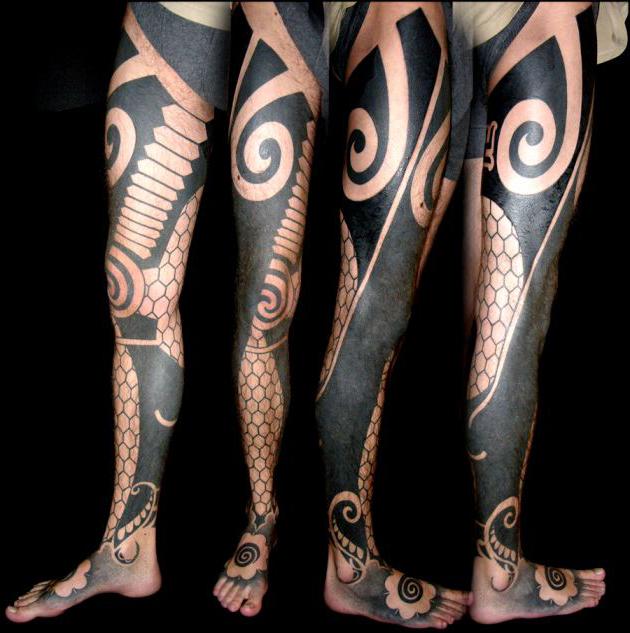 Ethnic Tracery Blackwork tattoo idea on both Legs