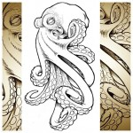 Evil Octopus realistic tattoo sketch