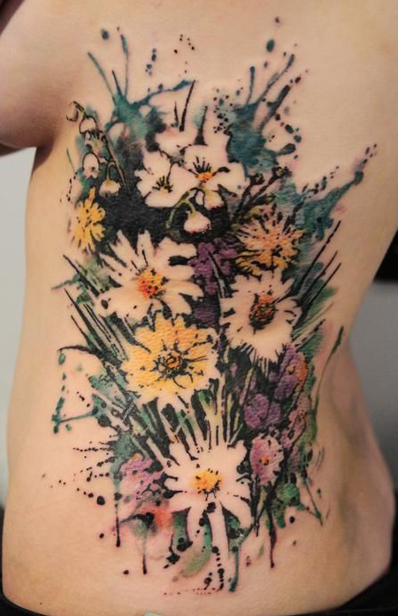 Field Flowers tattoo on back