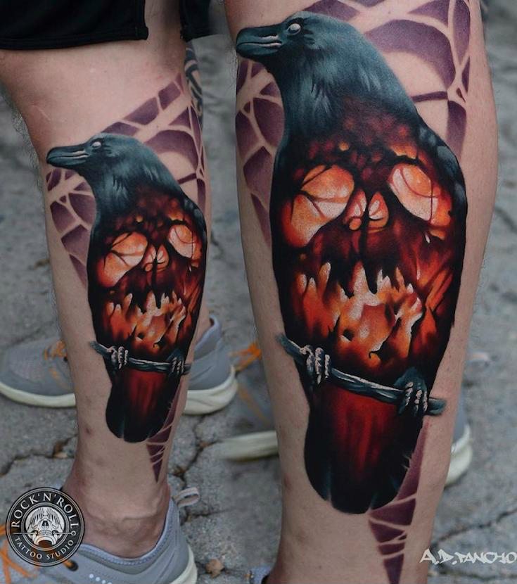 Fire Scull Raven tattoo by AD Pancho