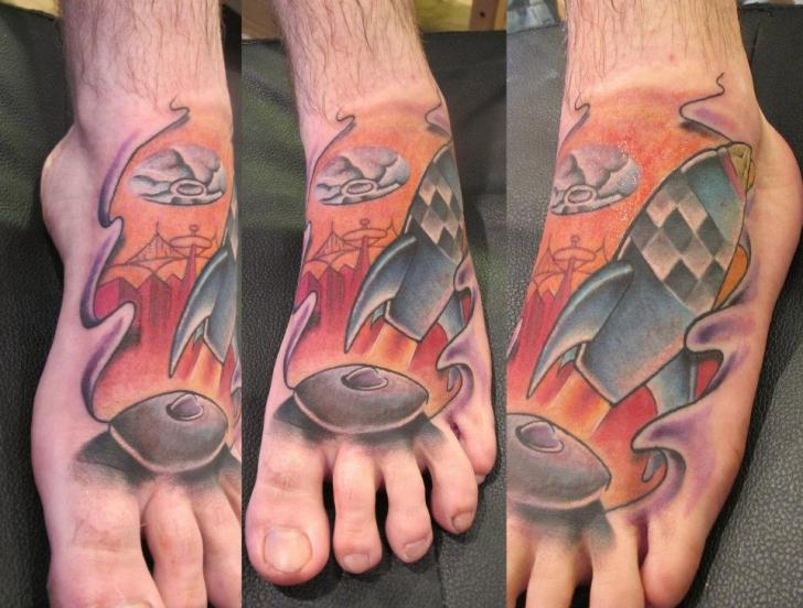 Fly Away Rocket Foot tattoo by Marked For Life