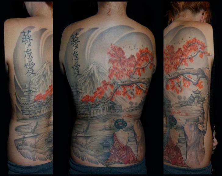 Full Back Geisha Japanese tattoo by White Rabbit Tattoo
