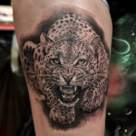 Furious Crawling Leopard Realistic tattoo by Led Coult