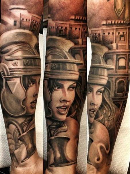 Gladiator Girl Chicano tattoo