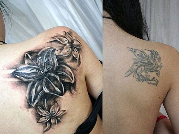 Graphic Shoulder Lily Cover Up tattoo design