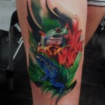 Green and Blue Frogs Realistic tattoo by Led Coult
