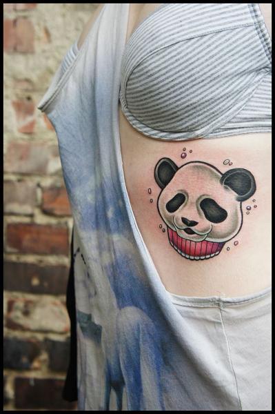 Happy Panda Cake tattoo by White Rabbit Tattoo