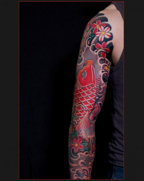 Japanese Red Carp tattoo sleeve by Chapel tattoo
