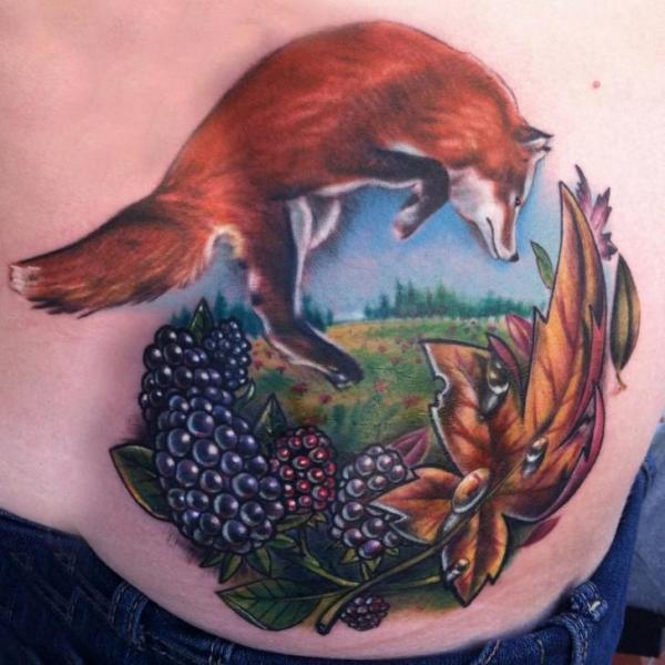 Jumping Red Fox tattoo