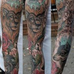 Lion and Wolf tattoo sleeve