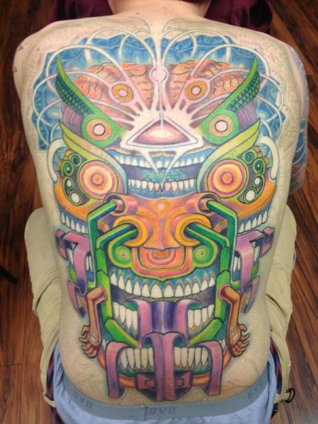 Maya Waterfall Tpmple New School tattoo by Anthony Ortega