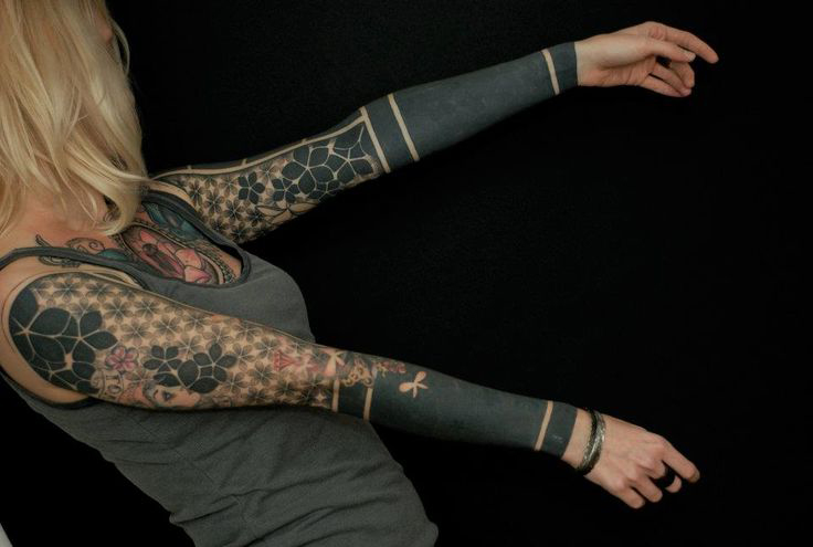 Mix od Blackwork tattoo Sleeves for Girl