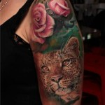 Pink Rose Deep Look Leopard tattoo by Led Coult