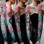Pink Space Planets tattoo sleeve