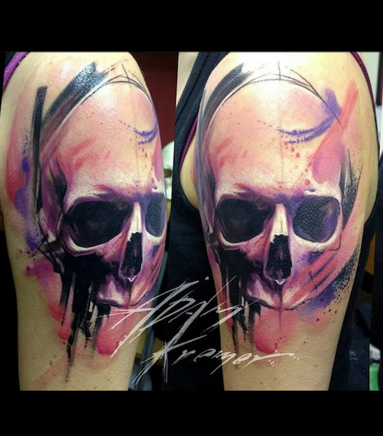 Purple Scull Aquarelle tattoo by Adam Kremer