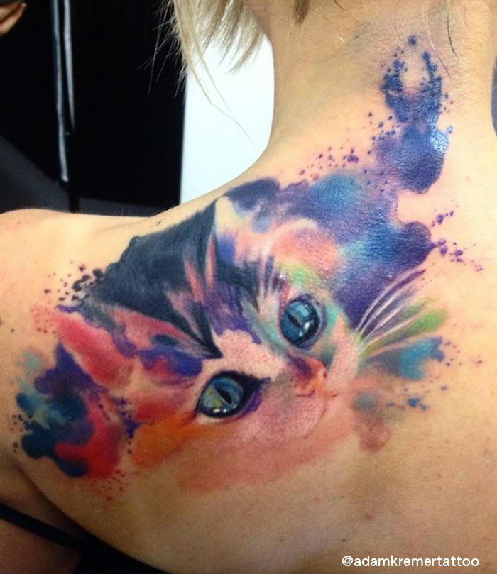 Snuggle Kitty Aquarelle tattoo