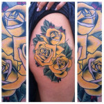 Yellow Roses hip tattoo by Last Angels Tattoo