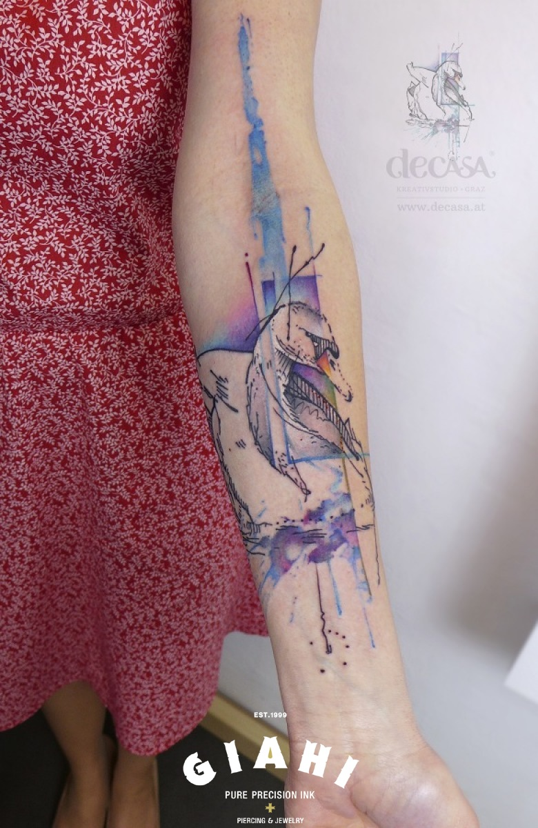 Aquarelle White Swan tattoo by Carola Deutsch