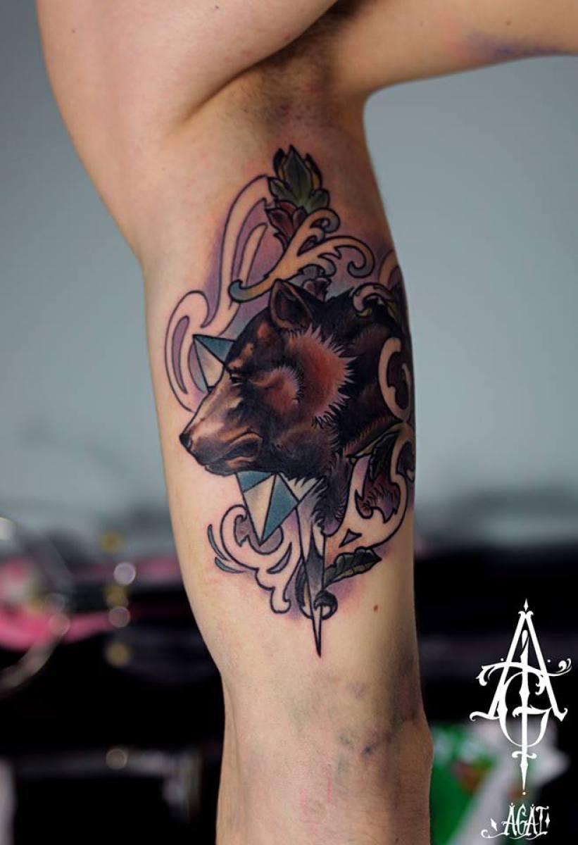 Arm Bear tattoo by Agat Artemji