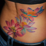 Back Colorful Flowers Aquarelle tattoo by Szilard