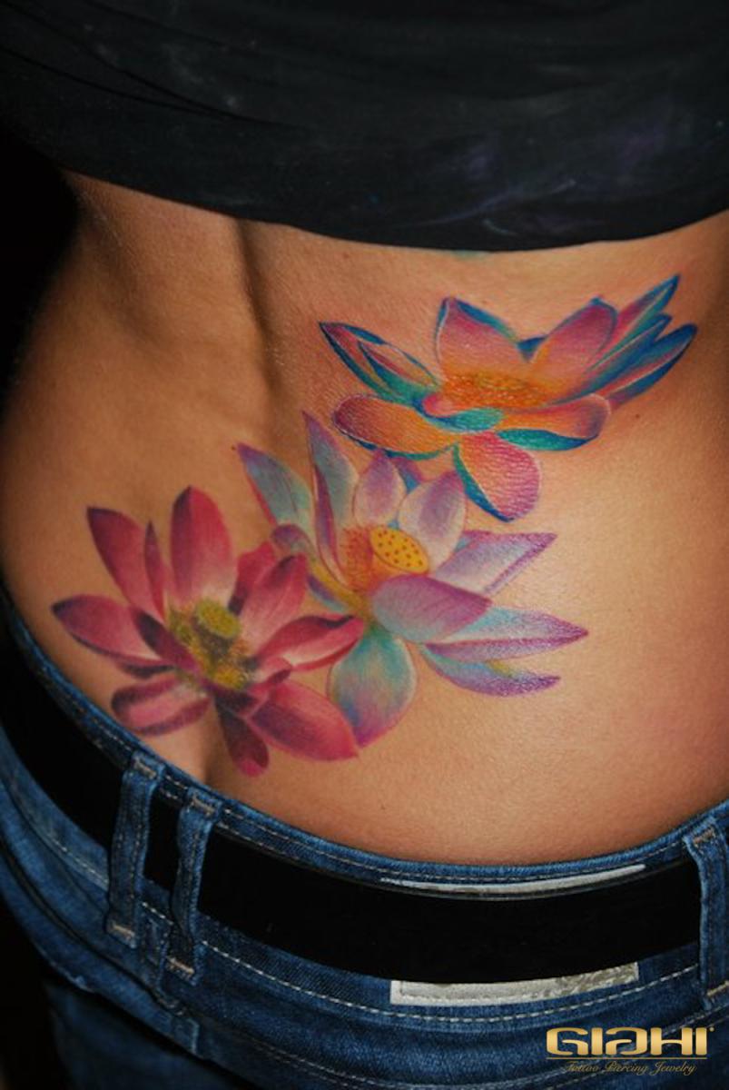 Back Colorful Flowers Aquarelle tattoo by Szilard